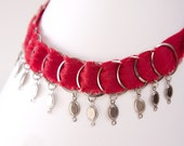Silk and Steel Hoops Necklace with Charms, Red