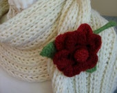 Felted Flower Pin Brooch Handmade  Beaded Posey Wool Fiber Jewelry from Textilesone Ready to Ship