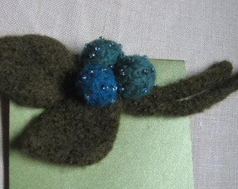 Blueberries Beaded Pin Brooch Felted Wool Fiber Jewelry Handmade by Textilesone Ready to Ship