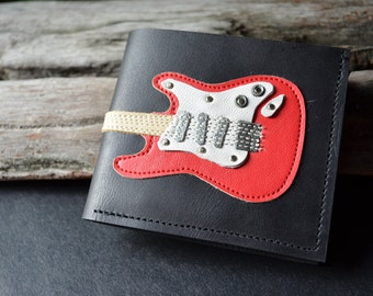 Men Wallet Strat Guitar & Red Color leather