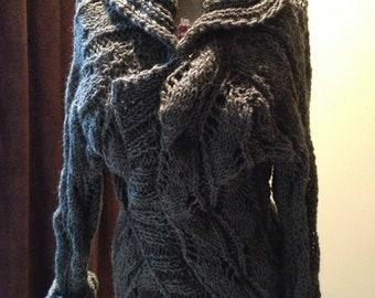 Hand Knit Dark Grey  Boyfriend Cardigan Sweater