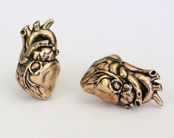 Anatomical Human Heart Cuff links in Solid Bronze Heart Cufflinks 165