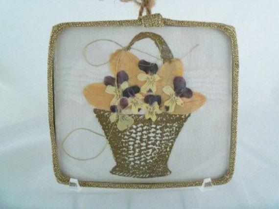 Vintage Handmade Framed Flower Bouquet Basket
