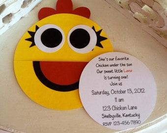 Handmade Custom Chica Birthday Invitations- Set of 10