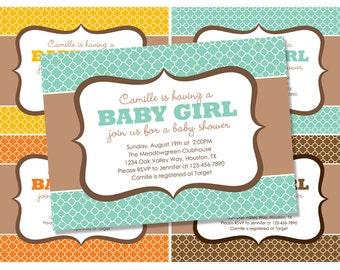 Quatrefoil Baby Shower Invitation - colorful Quatrefoil pattern - orange teal yellow brown shower invite (Printable Digital File)