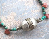 Ethnic Necklace - Turquoise, Jasper and Turkomen Silver Tribal Necklace