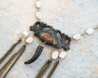 Tribal Turquoise Necklace - Black Fang, White Turquoise and Chains - Antique Hardware Collection