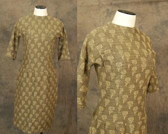 vintage 60s Dress - 1960s Brown Rose Wool Wiggle Dress Sz S