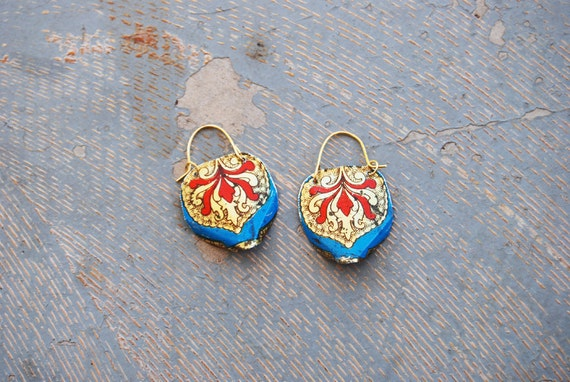 Blade Earrings - Red, Blue and Gold Roccoco Recycled Tin Earrings - Views from a Tin Collection LAST PAIR