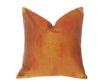 Copper Tree Pillow, Shimmering, Iridescent Pillow Cover, 18x18, Sienna Copper Bronze Gold Red, Contemporary Modern Home Decor