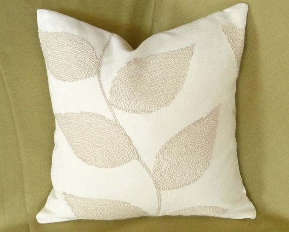 Cream Throw Pillow Contemporary Cushions Decorative Leaves