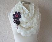 Ivory Scarf -Ivory Shawl- -Ivory Cowl With Purple Flower-Infinity Scarf-Handmade -ScarfCircle Scarf-Handknit Crochet-2012 Shawl Trends