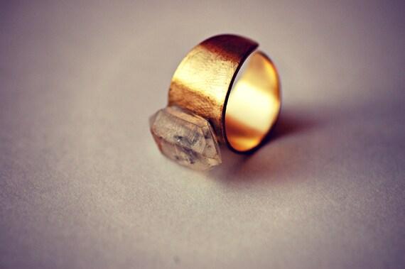 Herkimer Diamond Tibetan Quartz, Vintage Brass Adjustable Ring - Discounted Sample Fortress Ring