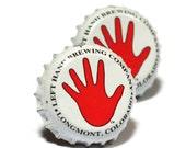 Red & White Left Hand Beer Bottle Cap Cufflinks Cuff Links