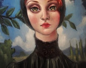 One of a kind oil painting on stretched canvas. 18x24 in. Lace Collar by Elizabeth Caffey