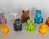 Brown Bear Fondant Cake Decoration Toppers - set of 9