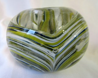 Paperweight Swirl Green Black White Dimple Heavy Glass