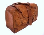 SERGE French Vintage Tan Leather Luggage / Over night Bag / Travel Bag