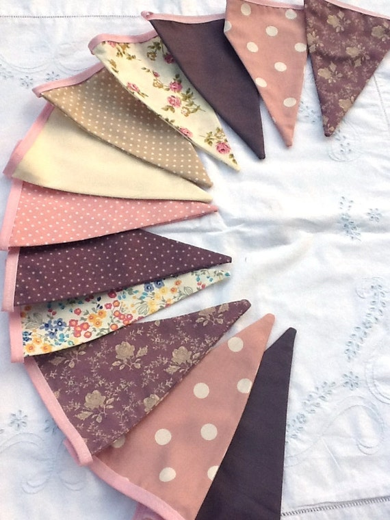 Bunting / Flag / Garland - Dusky Pink and Purple Shades, Weddings, Bedrooms