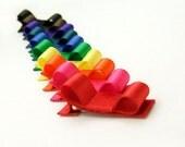 Rainbow Tuxedo Bows, Satin Hair Bows, 10 Piece Set, Alligator Clips, Baby, Toddler, Girl, Satin Tuxedo Bows