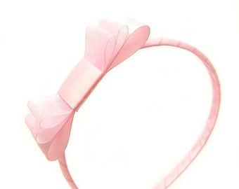 Pink Bow Headband, Pink Headband, Layered Bow, Satin Bow Headband for Flower Girls, Cotton Candy Pink, Sheer Bow for Girls, Special Occasion