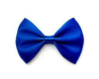 Royal Blue Hairbow, Bow Tie Hair Bow, 3 Inch Satin Bow, Basic Hairbow, Girls Hair Bow, Dark Blue, Newborn Baby Toddler Girls Women