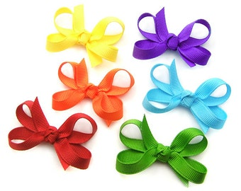 Baby Hair Bows, Mini Boutique Bow Set of 6, Tiny 2 inch Hair Bows for Baby Toddler Girl Infant Hairbows Starter Set of Bows, 138 Colors