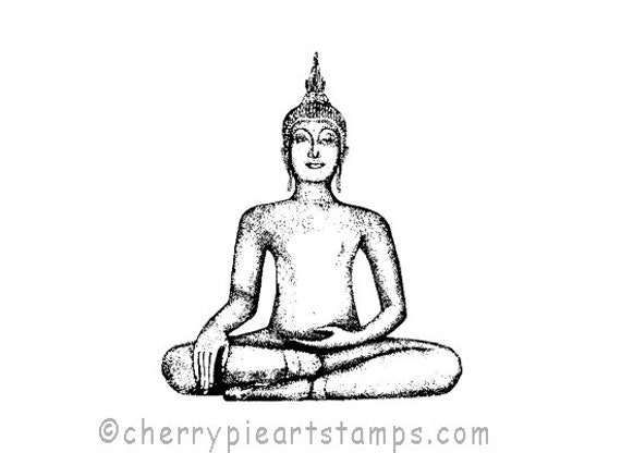 Tibetan BUDDHA- CLiNG RuBBer STamP for acrylic block by Cherry Pie Art Stamps