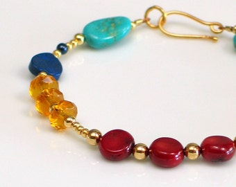 Gold Beaded Bracelet in Primary Colors, Ruby Red Coral, Turquoise Bracelet & Yellow Crystal, Spring and Summer Fun Fashion, Affordable Gift