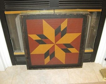 PriMiTiVe Hand-Painted Barn Quilt, Small Frame 2' x 2' - 8-Point Star Pattern
