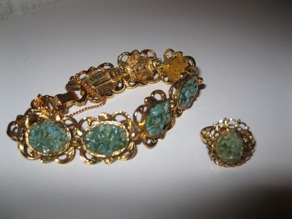 vintage Gold Tone Adjustable Ring and Bracelet Beautiful Green Stones