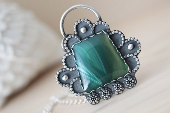 Silver Agate Necklace - Through The Window - Sterling Silver Brazillian Agate Pendant