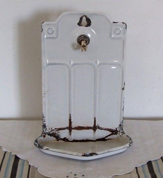 Vintage French shabby chic enamelware soap rack art deco style, white graniteware soap dish, cottage style enamelware