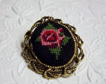 Vintage Pendant Petit Point Mirror Rose Pink Black 1950s Costume Jewelry