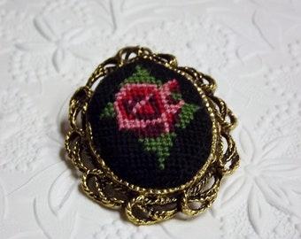 Vintage Rose Petit Point Pendant, Petit Point Mirror, Rose Pink Black 1950s Costume Jewelry