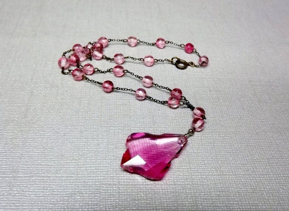 Art Deco Necklace Pink Glass Bead Necklace Vintage Jewelry 1920 1930