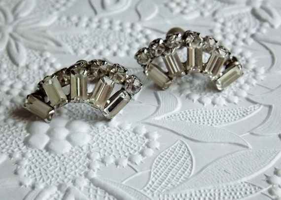 Kramer Earrings Baguette Round Rhinestone Wedding Bridal Jewelry