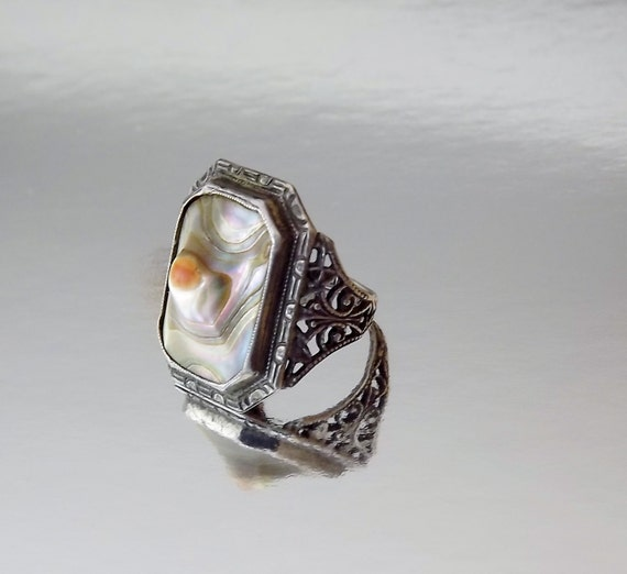 Art Deco Ring Blister Pearl Sterling Silver Size 3 Vintage 1920s Jewelry