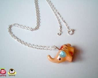 Elephant Necklace, animal, brown, orange, silver necklace, charm, mini, small, tiny, decoration, animal, ornament, miniature ceramic, iammie