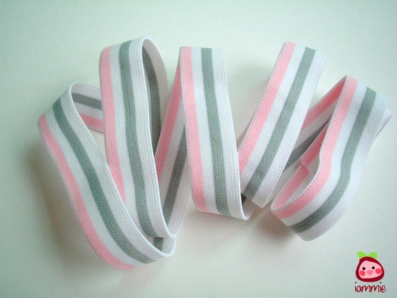 Pink Elastic, pastel, stripe, white, grey, gray, crafting, fabric, headband, book strap, bag, girl, iammie