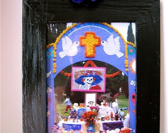 SALE- Day of the Dead  Calavera (skull) Shrine- so colorful with original photograph from Hollywood Cemetery Celebration