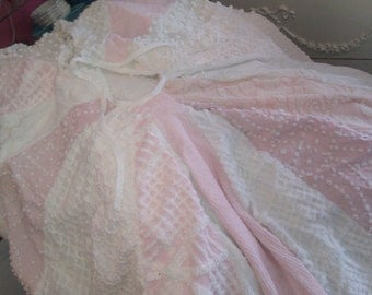 tree skirt christmas shabby vintage chic pink white chenille bedspread