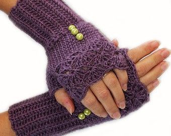 Soft Purple and green button Crochet Fingerles Gloves