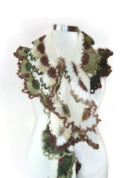 Ivory Wool Spring Garden Shawl and Scarf with Mohair Degrade Crochet Lace - For her mom gift