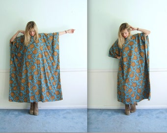 60s 70s Rose Floral Dashiki Boho Maxi Dress - OS OSFA - Blue and Gold