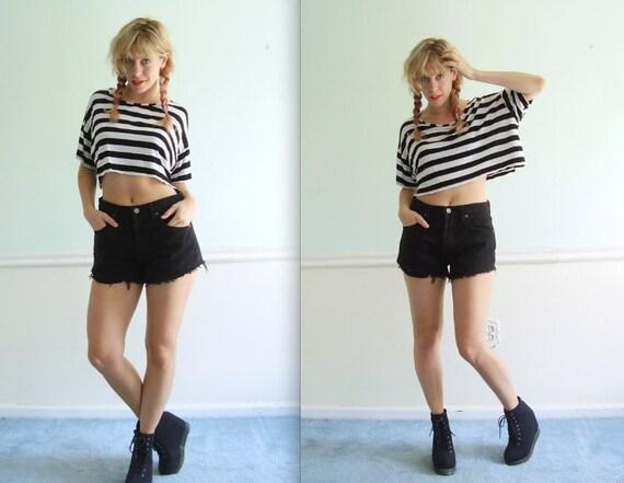 90s Black Denim High Waist Cut Offs Shorts - Calvin Klein Jeans - S M