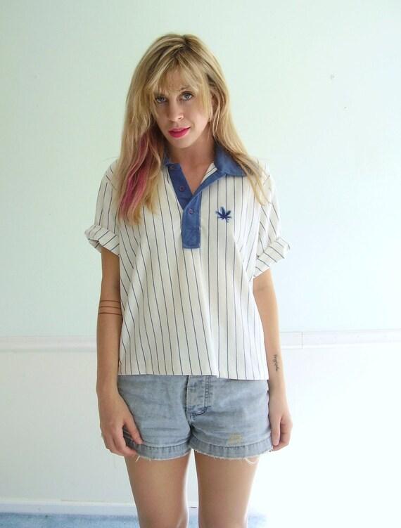 Pot Leaf Baseball Tee - Vintage 70s 80s - SS Tee Shirt Top - MEDIUM M