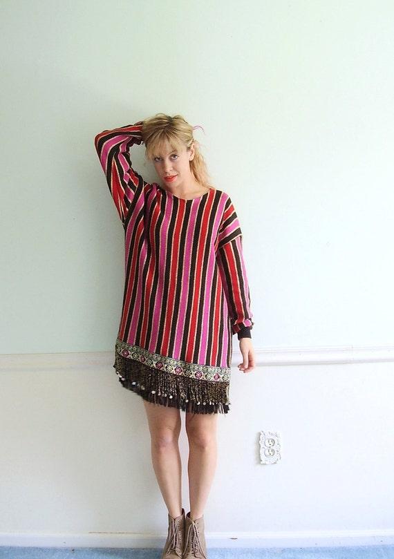 Boho Sweater Mini Dress Vintage 80s Black Red Pink Stripe Fringe Knit - MEDIUM M - Gypsy