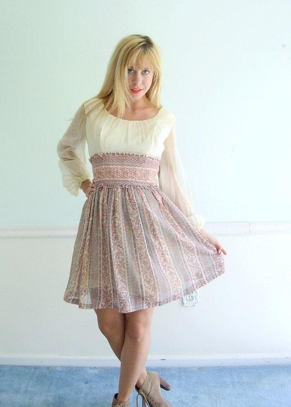 Festival Floral Mini Dress Vintage 60s 70s Printed Sheer Sleeve Boho Dress S M