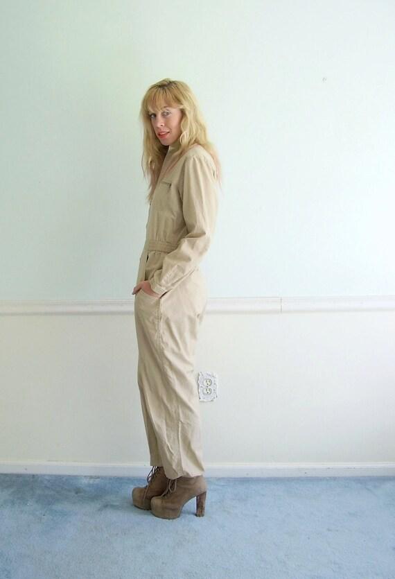 Painter's Jumpsuit Vintage 70s 80s Khaki Brown Work Wear One Piece SMALL S